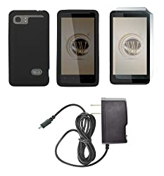 HTC Vivid (AT&T) Premium Combo Pack - Black Silicone Soft Skin Case Cover + ATOM LED Keychain Light + Screen Protector + Wall Charger