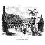 Grabado antiguo (1841) - Grabado al acero - Isla Borbón.- Puente Del Río De Los Morrillos (10x12), Sainson, M....