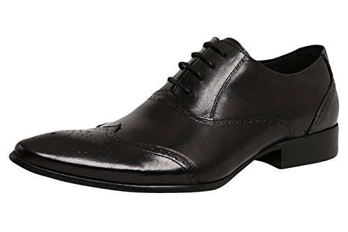 Serdaomani Men'S Leather Fashion Soft Point Toe Lace Up Oxford Shoes Black 44Eu