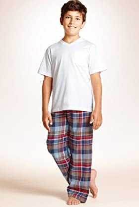 3 Piece Older Boys' Autograph Pure Cotton Check Pyjamas