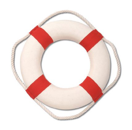 50 10&#8243; Red and White Life Preserver Ring for Tropical Beach Decor or Pool Party Buoy