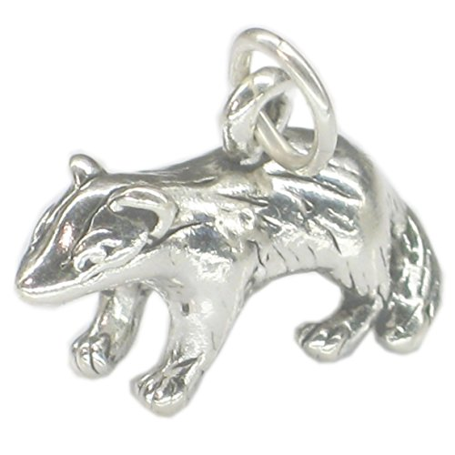Sterling Silver Badger Charm Nature Lovers Animal Jewelry for Bracelet or Necklace