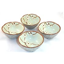 Set of Japanese Sakura Cherry Blossom Soy Sauce Dipping Bowls 3 1/2 Inch
