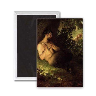 Faun and Nymph, 1868 (oil on canvas) by Pal.. - 7,5x5 cm Kühlschrankmagnet - großer Magnetknopf - Magnet