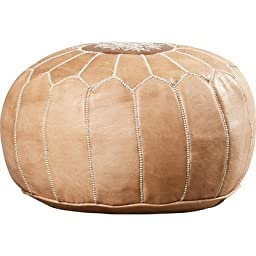 Ikram Design PF020 Round Moroccan Leather Pouf, Dark Tan Color