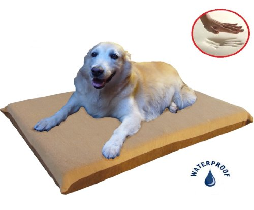 "Beige Color Jumbo 54X47""X4"" Orthopedic Memory Foam Pet Bed Mattress Pad For Large Dog With 2 External Cover + Waterproof Internal Cover front-228045"