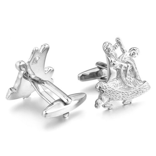 Justeel Men Dancing Silver Shirt Cufflinks Rhodium Plated , with Gift Box, (Width x Length: 0.87 x 0.91 inches)
