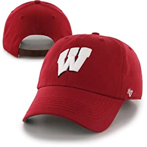 Buy NCAA University of Wisconsin Badgers Logo Strapback Cap with Leather Strap by '47 Brand by '47 Brand