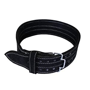 Leather Power Weight Lifting Belt- 4 Black Large by Ader Sporting Goods