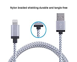 ApeCases Nylon Braided 8 Pin Lightning to USB 2.4A Fast Charging & High Speed Data Sync Flat Cable Cord (White & Silver)