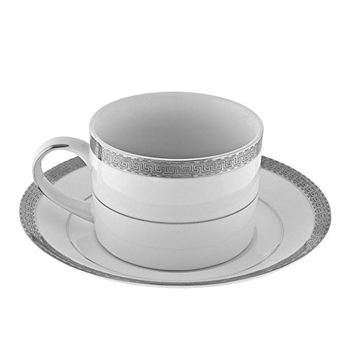 Ten Strawberry Street Luxor Platinum - 6 Oz Cup And Saucer - Set Of 6 LUX-9P-6