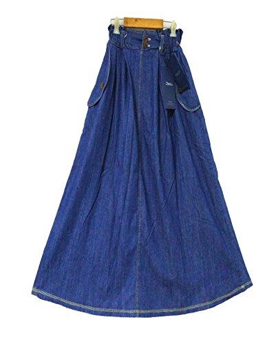 Wonmen's Elastic Waist Jeans skirt A-line Mid Length Causal Vintage Slim Denim Skirt (Tibet Blue) Denim Maxi Skirt