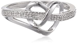Sterling Silver Diamond Heart Ring (1/20 cttw), Size 6