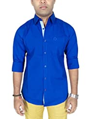 AA' Southbay Men's Royal Blue 100% Cotton Lycra Long Sleeve Solid Business Casual Shirt