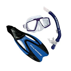 U.S. Divers Cozumel Seabreeze Dry Proflex II Mask, Fins and Snorkel Set (Medium)