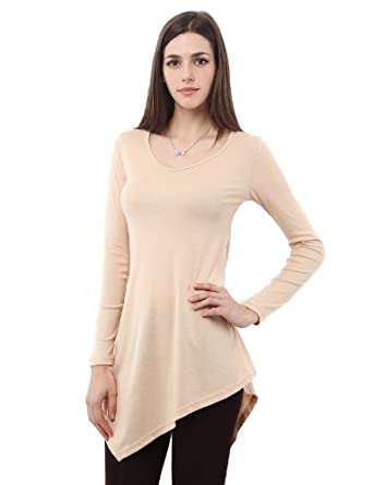 Doublju Womens Plus-Size Long Sleeves Knit Jersey Tunics in Comfortable Stretch Fabric Beige Medium