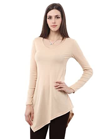 Doublju Women Unique Designed Belt Point Long Sleeve Tunic BEIGE,S