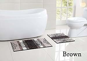 Plush low nap bathroom rug latex