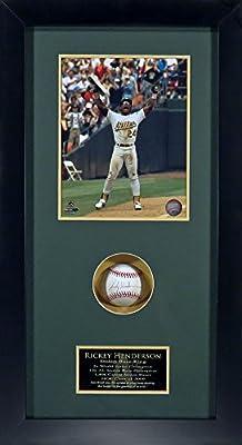 "Oakland Athletics Rickey Henderson Autographed ""Stolen Base King"" Shadowbox Framed (COA)"