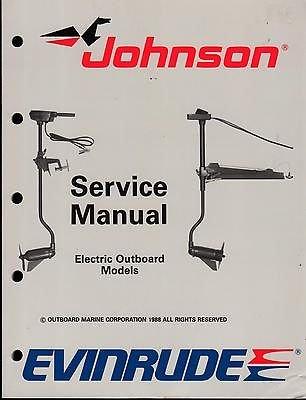 1989 Omc Evinrude Johnson Electric Motor Service Manual P/N 507752
