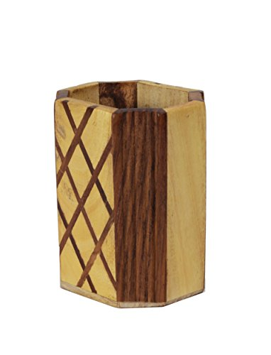 Pen Holder Rustic Hand Carved Wooden Pen Pencil Stand Holder Organizer (4 Inches) Office Desk Accessory