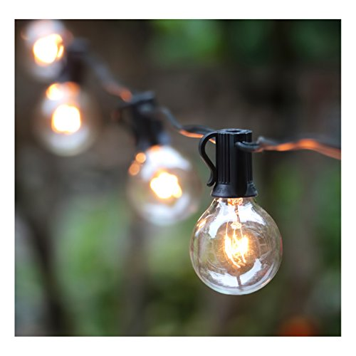 25FT G40 Globe String Light with 25 Clear Bulbs for Outdoor and Indoor Decoration, Garden, Party, Wedding, Pergola, Backyard, Umbrella, Patio Outdoor Light String, Black