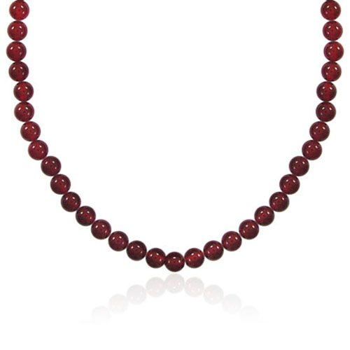 6mm Round Red Agate Bead Necklace, 22+2