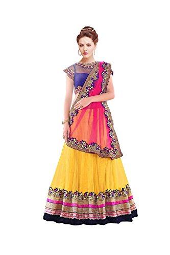 Janasya-Womens-Yellow-Embroidered-Net-Lehenga