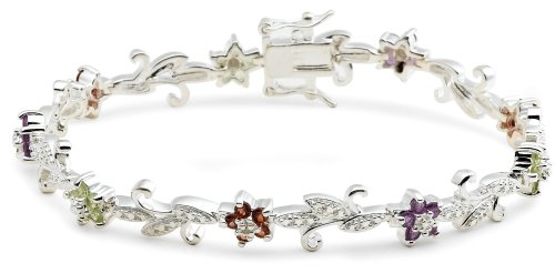 """Sterling Silver Amethyst, Garnet and Peridot Flower Bracelet, 7.25"""""""