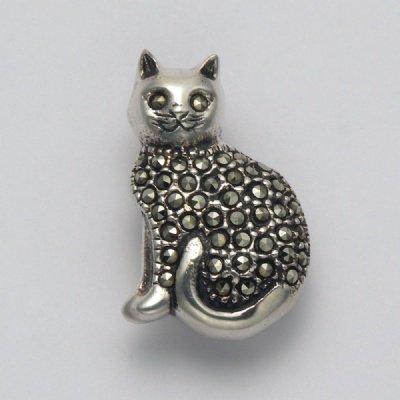 Marcasite Sitting Cat Pin