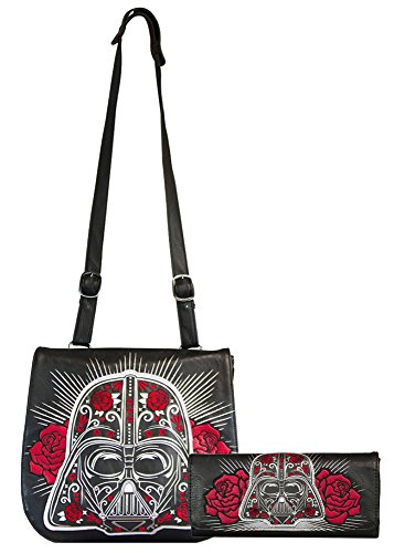 Loungefly Star Wars Darth Vader Sugar Skull Roses Cross Body & Matching Wallet Bundle