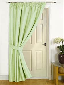 """Canterbury Green Thermal Door Curtain 56"""" x 84"""",** Now Includes A Matching Tieback**"""