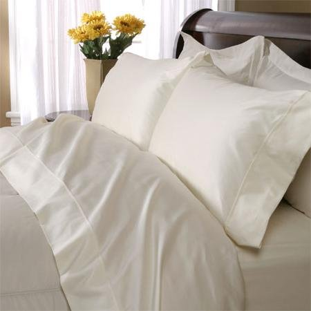Bluenile Egyptian Cotton 1200 Thread Count Solid Sateen Bed Sheet Set King Ecru front-363427