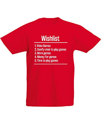 Video Games Wishlist, Kids Printed T-Shirt - Red/White 12-13 Years (Wargame Red Dragon Steam compare prices)