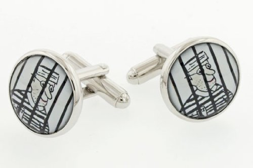 JJ Weston Jailbird Cufflinks with Presentation Box. Made in the USA