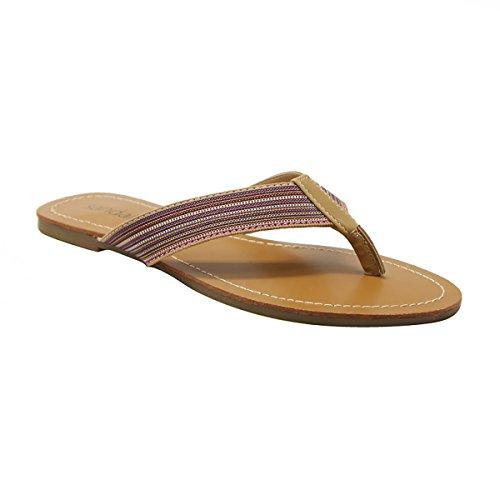 Sandalup Women'S Viviane Canvas Flip Flops Brown Size 11 front-12131
