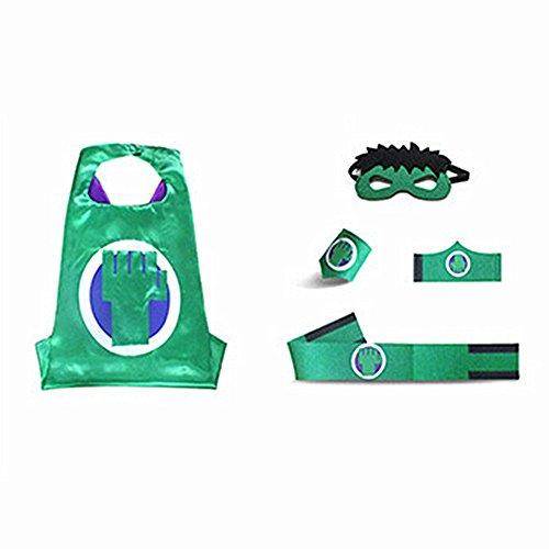 Halloween Costumes Kids Superhero Cape with Felt Mask, Wristband and Belt (Hulk)