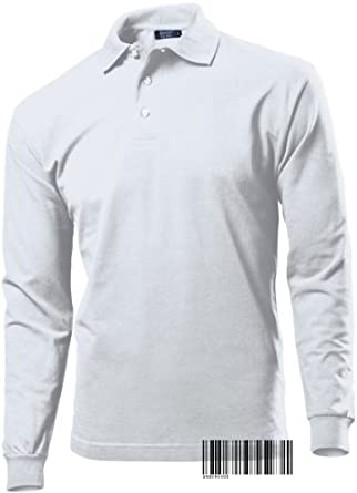 Buy Long Sleeve Plain Polo T-shirt for Men - Regular Fit 100% Cotton Hanes Top Polo by Underhood of London
