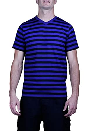 Yago 2118 short sleeve striped v neck t shirt purple for Purple and black striped t shirt