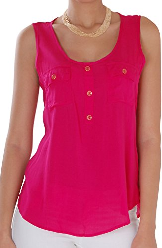 Humble Chic Women's Button Up Pocket Tank - Hot Pink Plus 1X - Soft Sleeveless Blouse, Hot Pink (Hot Pink Dressy Tank compare prices)