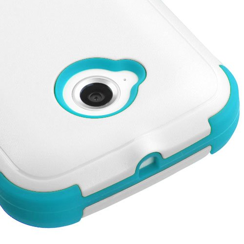 MyBat Moto E 2nd Generation Tuff Hybrid Phone Protector Cover - Retail Packaging - Natural Ivory White/Tropical Teal