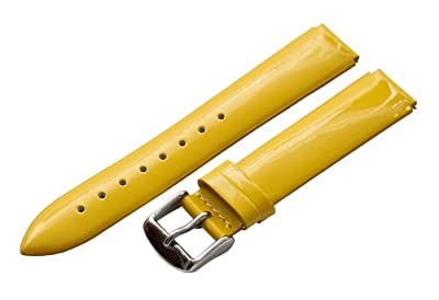 Yellow Patent 18mm Watch Band Fits Philip Stein Small Size 1 (With Built in Quick Release Pins) !!!! by Clockwork Synergy, LLC