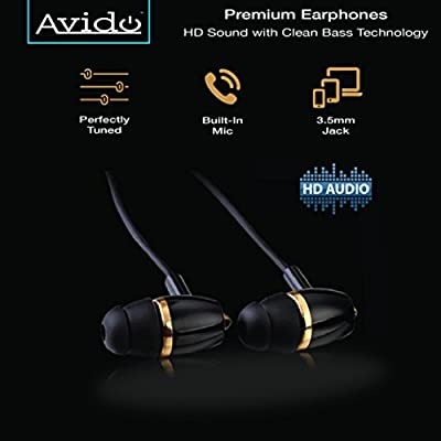 "Avidoâ""¢ [Platinum Series] In-Ear Premium Earphones/ Earbuds - HD Sound with Clean Bass Technology and In-Line Remote (Stereo Mic & Volume Control) - 3.5mm - Hard Case Included - Black/ Gold"