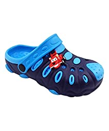 Chulis Footwear Boys\' Two-Tone Blue Race car Clogs 5T