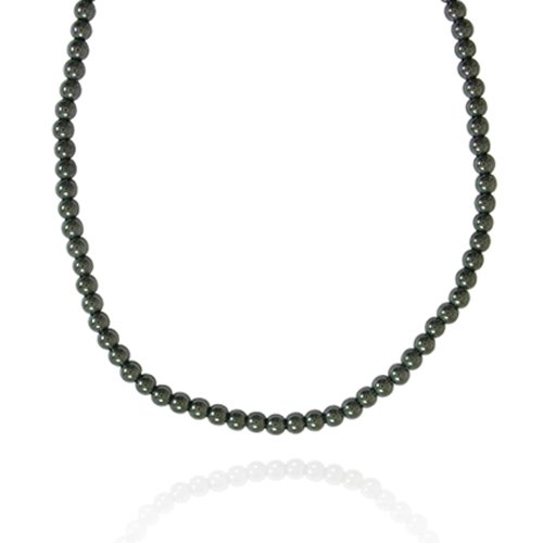 4mm Round Hematite Bead Necklace, 16+2