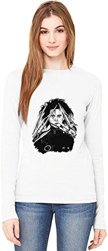 Edward scissorhands portrait T-Shirt da Donna a Maniche Lunghe Long-Sleeve T-shirt For Women| 100% Premium Cotton Ultimate Comfort Small