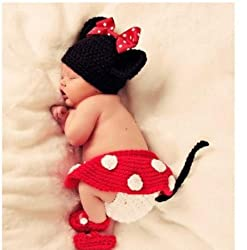 Photography Prop Baby Costume Cute Crochet Knitted Baby Hat Cap Girl Boy Diaper Dogs by handmade