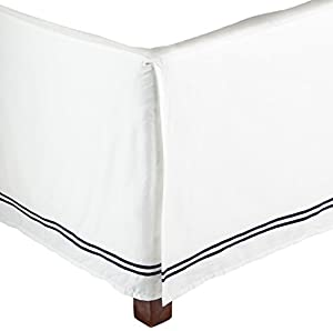Pinzon 400-Thread-Count Egyptian Cotton Sateen King Hotel Bedskirt, White With Navy Stripes