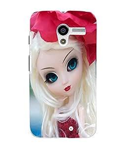 Fuson 3D Printed Cute Doll Designer Back Case Cover for Motorola Moto X - D723