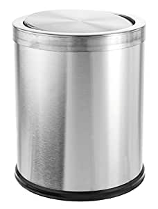 Bennett swivel a lid trash can small office stainless steel wastebasket modern - Small trash can with lid ...